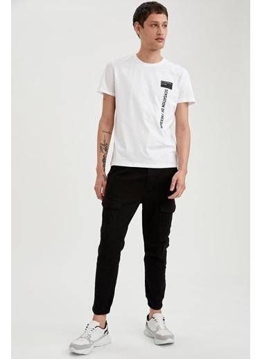 DeFacto Baskılı Slim Fit Bisiklet Yaka Pamuklu T-shirt Beyaz